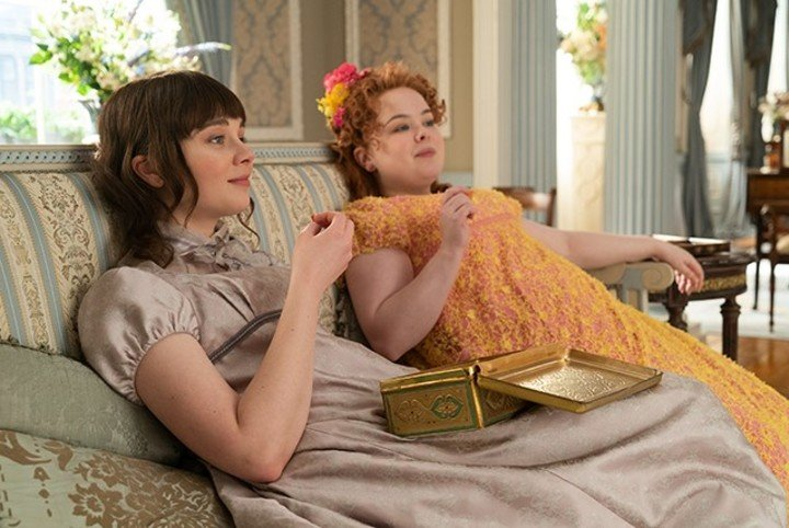 In the first season, Penelope and Eloise sought to discover the identity of Lady Whistledown.  Netflix photo
