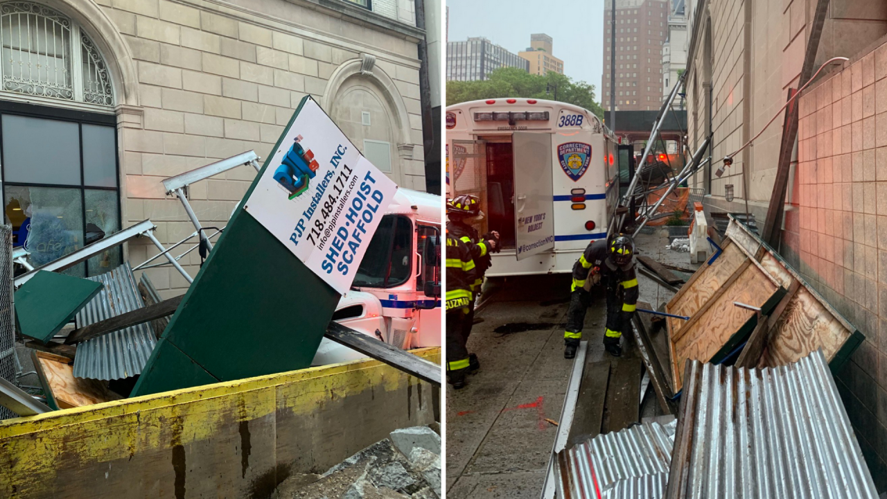 Correction bus crashes into scaffolding near Brooklyn court, injuring 4