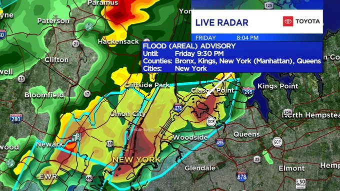 Flood advisory issued for parts of NYC through 9:30 p.m.