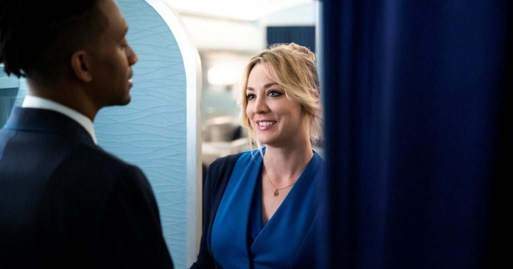 Cassie, the flight attendant who consecrates Kaley Cuoco and takes her to the Emmy