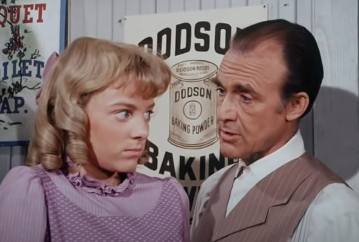 """A scene from """"The Ingalls Family, with actress Alison Arngrim and her fictional father, Richard Bull"""