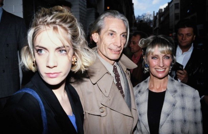 Charlie Watts and Shirley Ann with their daughter Seraphine, mother of their granddaughter Charlotte.