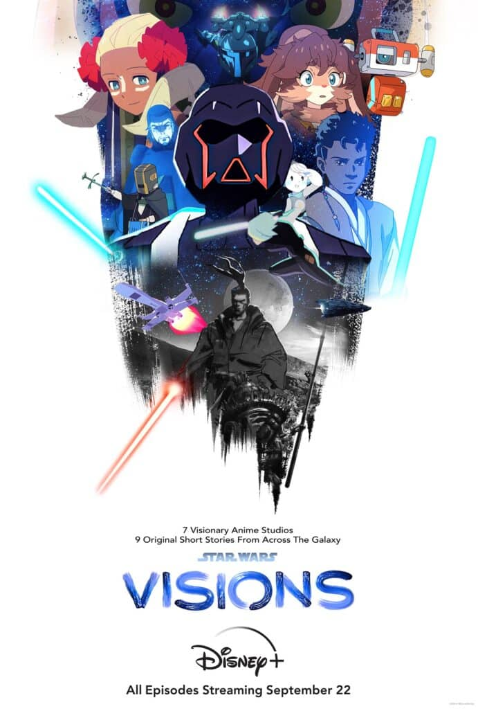 Official Star Wars: Visions poster with its characters