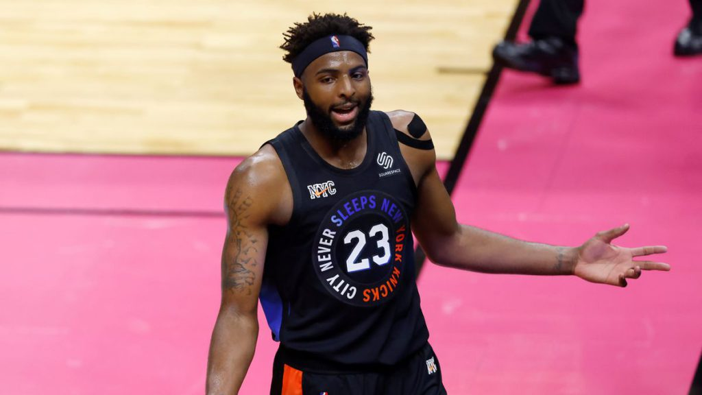 An exhausted Mitchell Robinson flexes new muscles in anticipated return